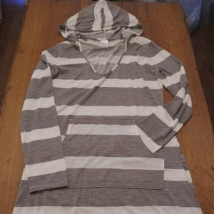 Gray and White Striped Knit Dress or Long Shirt